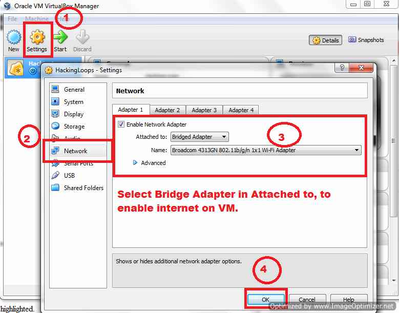 Configure Internet Settings(Bridge Adapter) on VM