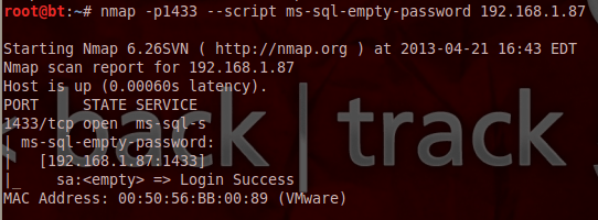 Penetration Testing of SQL Servers using NMAP - Step 3
