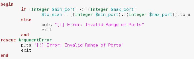 get range of ports