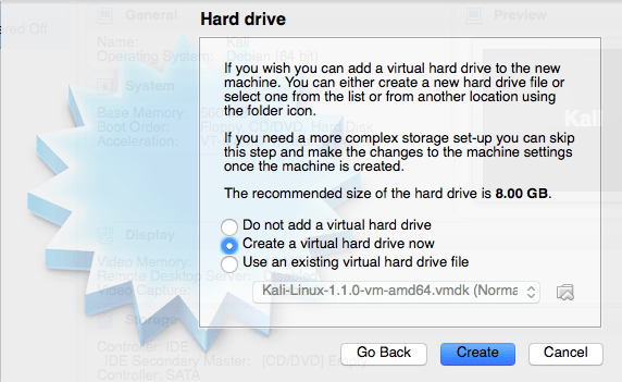 Create a virtual hard drive now