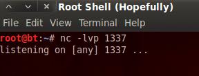 setting up root shell listener