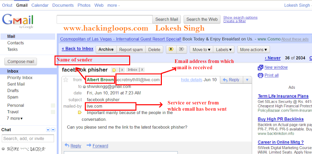 trace fake emails using headers