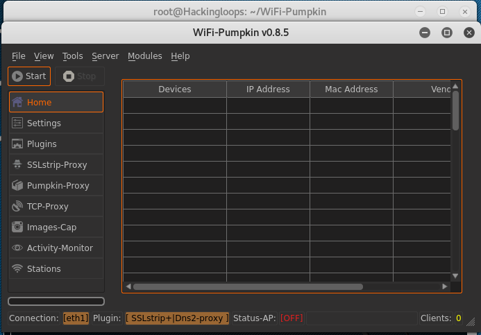 Wifi Pumpkin interface