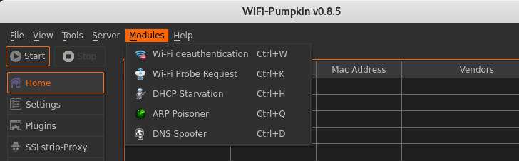 Wifi Pumpkin modules