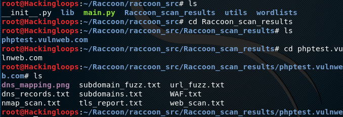 Raccoon results folder