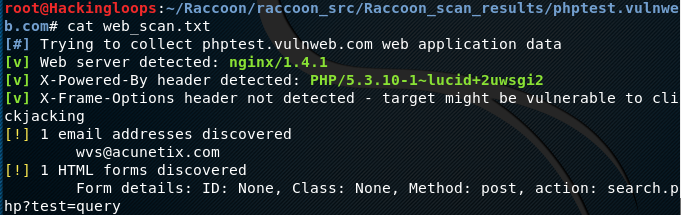 Raccoon –Reconnaissance and Vulnerability Scanner for Web