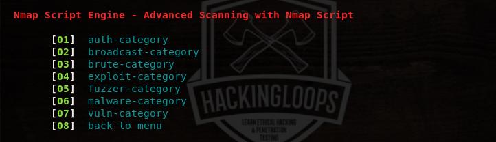 nmap script engine menu