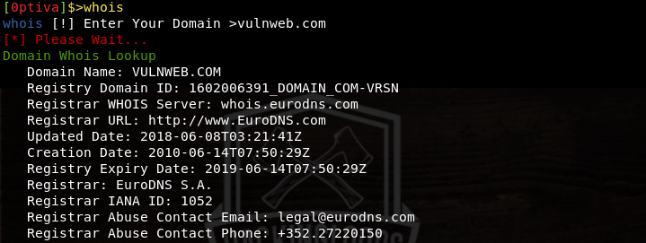 whois results
