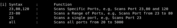 port scan syntax