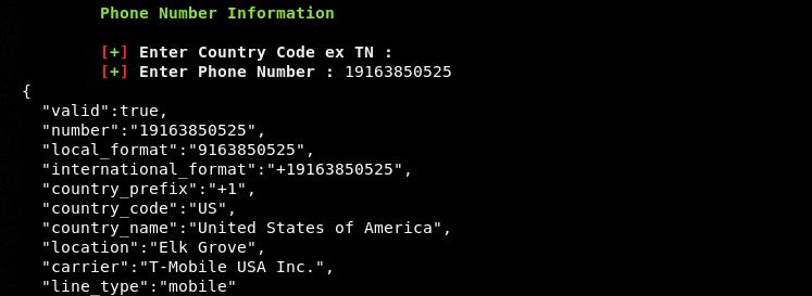 phone information