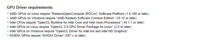 gpu drivers requirement