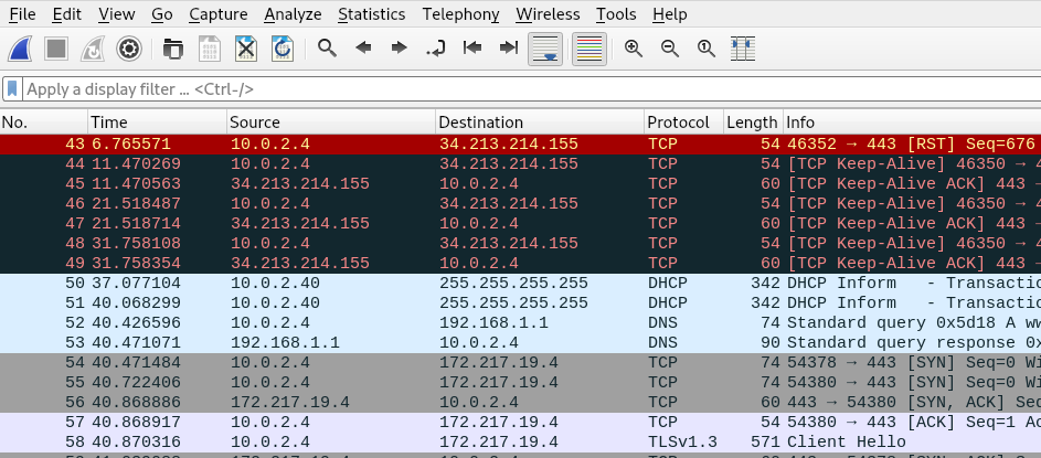 pcap result file
