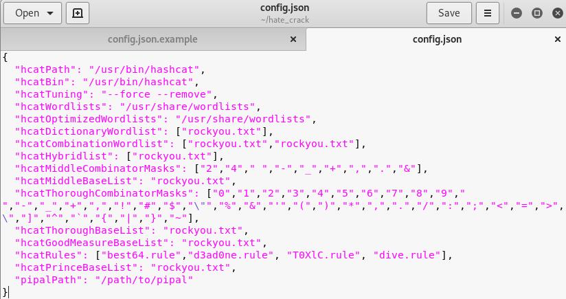 config json file