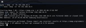nmap command using -sV flag
