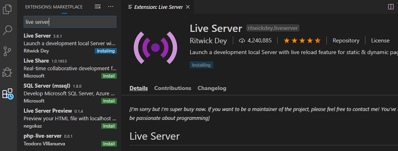 live server extension installation