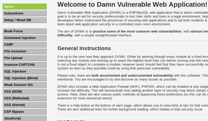 all dvwa vulnerabilities