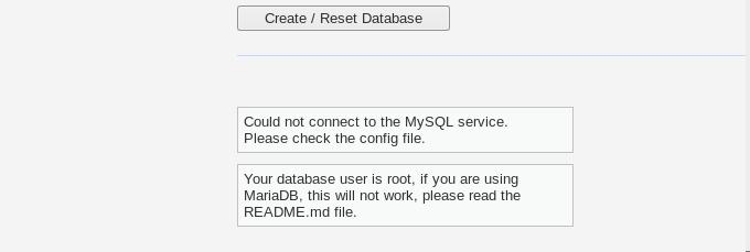 create database error