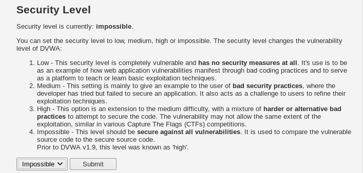dvwa security level