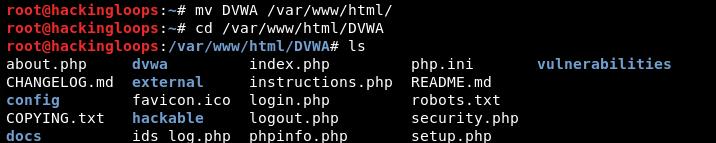 moving DVWA to html folder