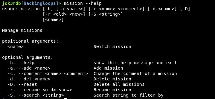 mission help menu