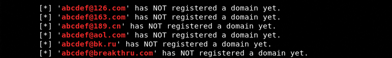 checks to see if email is used to register an domain