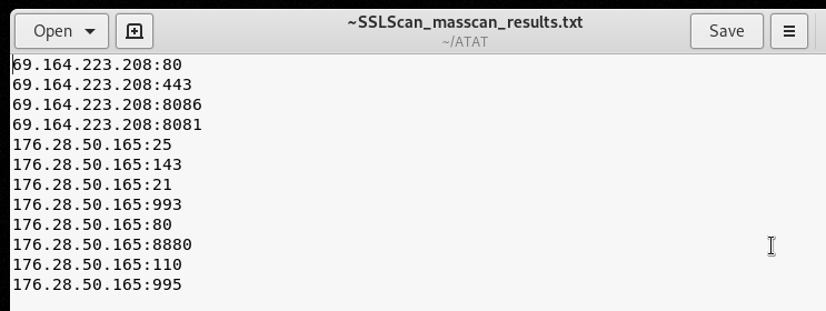 Mass scan TCP results in a text file