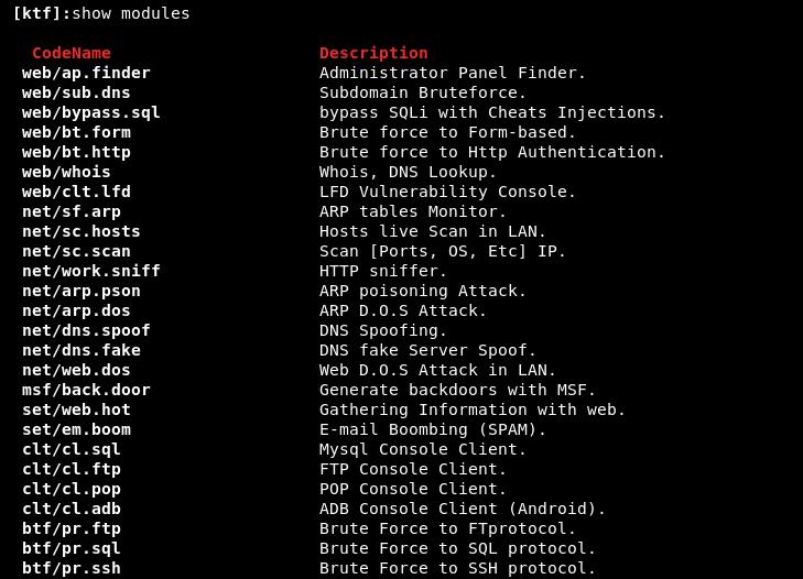 show modules command