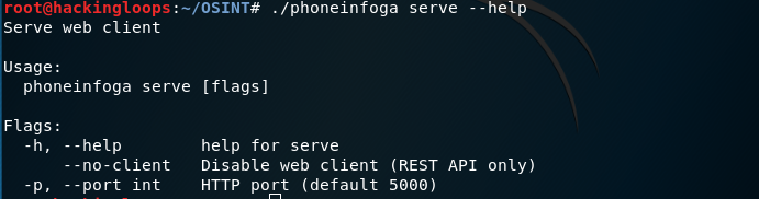 phoneinfoga serve help command