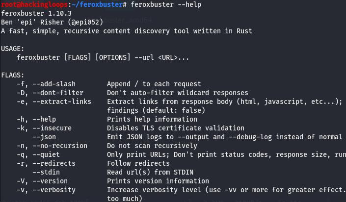 feroxbuster help menu