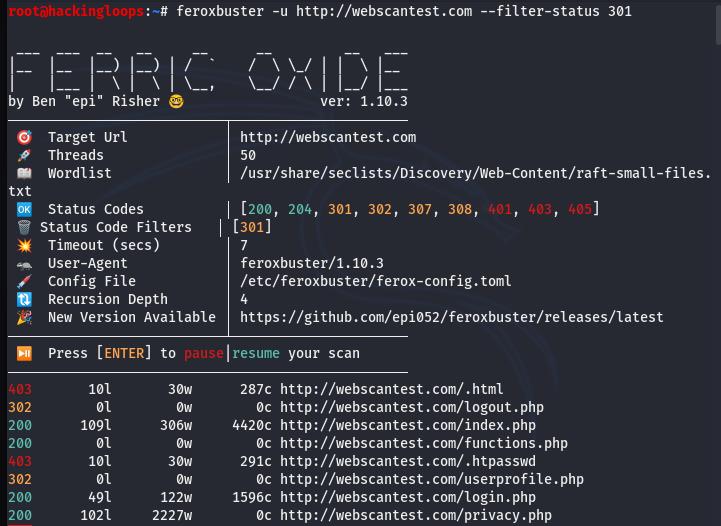 filter status code example