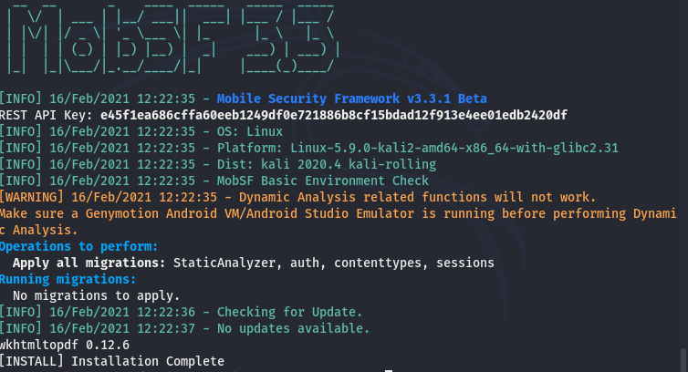MOBFS installation completion message