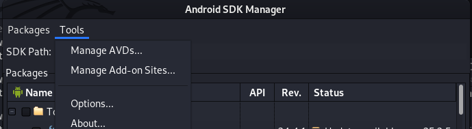 AVD manage option