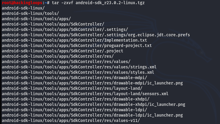 android sdk unzip