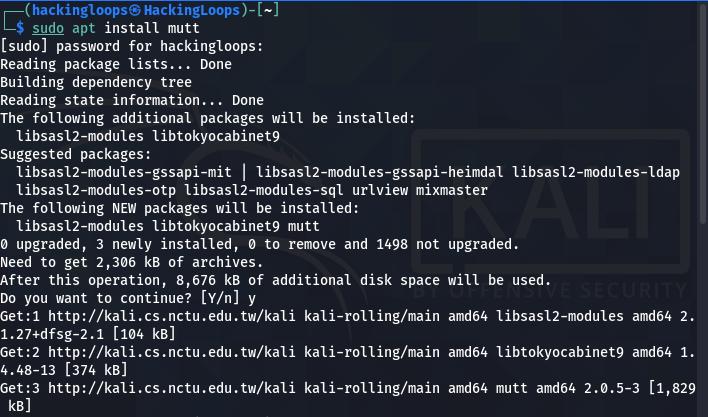 mutt mail client installation