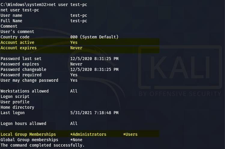 net user test-pc