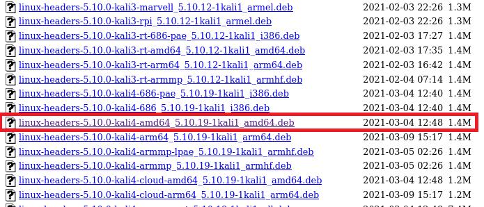 kali linux headers options