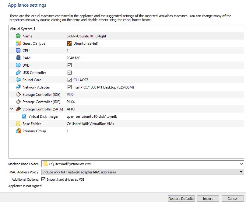 AVISPA appliance import settings